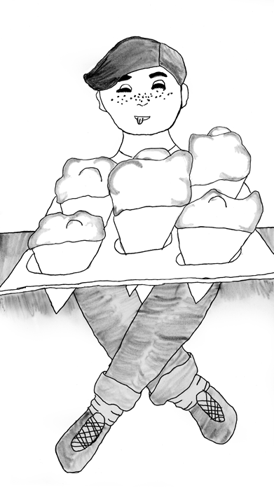 "Illustration for ""A Sweet Treat"" - A boy licks his lips in anticipation as he gazes at a tray of five ice cream cones"