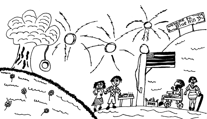 "Illustration for ""It's a Family Tradition . . . "" - People watch a fireworks display while the U.S. flag flies"