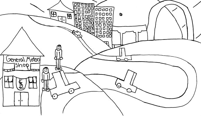 """The Day My Uncle Met a Wizard"" illustration: Two people prepare to enter their car to travel a windy road that leads to the baseball stadium in St. Louis"