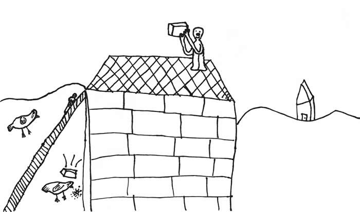 """Bricks vs. Chickens"" illustration by B. B. Williams: Boy on the roof of a chicken coop, with a brick in his hand."