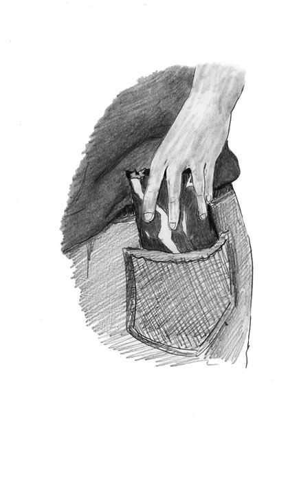 "Illustration for ""Candy Thieves"" - A hand slips a bag of candy into a back pocket"