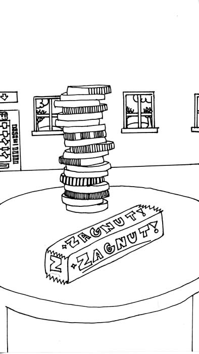 """The Coin"" - Illustrated by Olivia Gravette: A Zagnut candy bar and a stack of coins sit on a table in a hotel lobby"