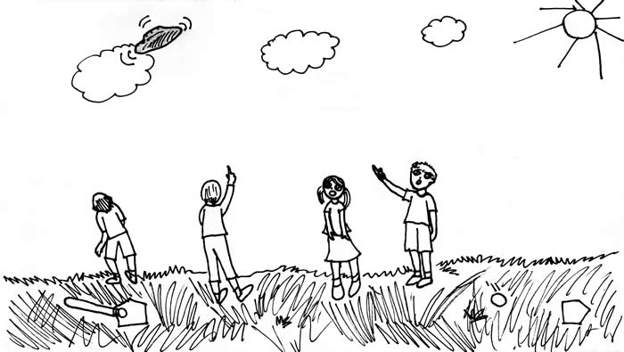 """The Disk in the Sky"" illustration by Rachel Liang: Children playing ball in a field stop and point at a disk-shaped object in the sky"