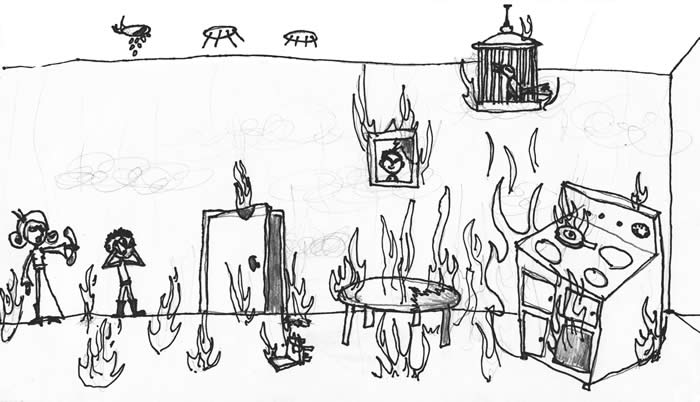 """The Fire Bird"" illustration by Christian Bigler: A family hurries out the door as a kitchen stove, table, chair, bird cage, and floor are covered in flames."