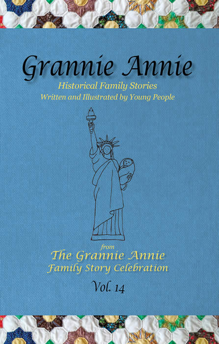Grannie Annie, Vol. 14 front cover: Morning Glory blue with quilt borders and student art of the Statue of Liberty holding a baby