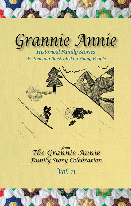Grannie Annie, Vol. 11, book cover: Goldenrod with quilt borders; student illustration of a skier on a mountainside