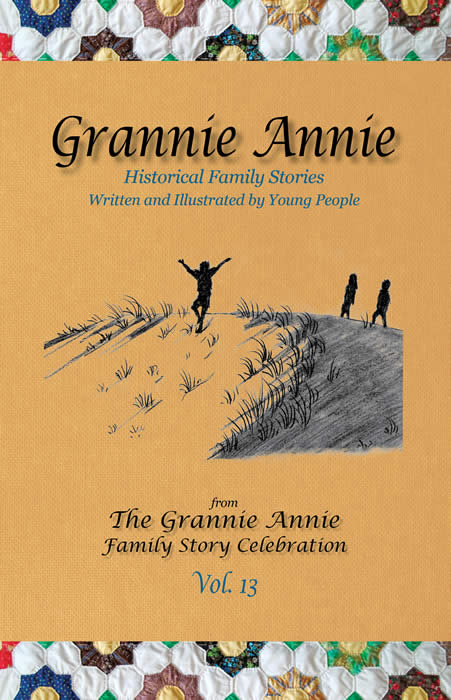 Grannie Annie, Vol. 13 cover: Marigold background with Grannie quilt border, featuring student drawing of children playing on a sand dune