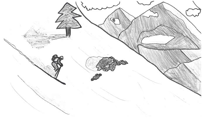 "Illustration for ""Henrik:"" Skier flying down the mountainside, surrounded by mountains."