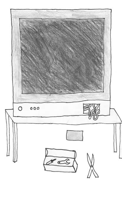 """The Magical Box"" illustration by Teagan LeVar: TV with a blank screen and wires protruding, and a tool box nearby."
