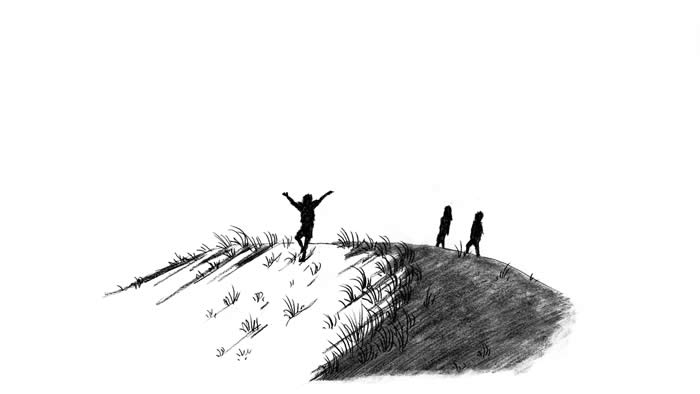 """SOS - Saving Our Sand Dune"" illustration, by Janessa Hoffmann: Silhouettes of three children playing on a sand dune."