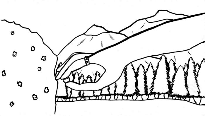 """A Single Ring"" illustration, by Jasmine Flowers: With mountains in the background, a hand wearing a ring picks a berry off a bush"