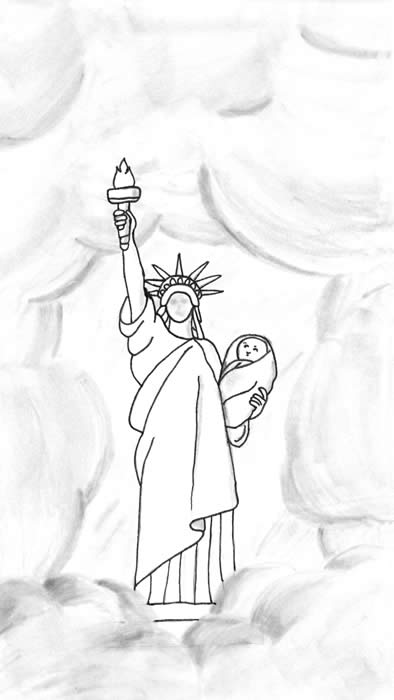 "Illustration for ""The Lucky Baby"" - The Statue of Liberty, surrounded by clouds, holds an infant in her left arm."