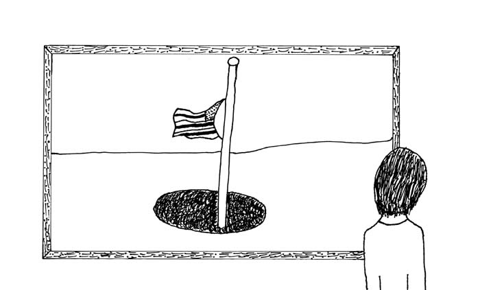 """The Window"" illustration by David Evans: A child looks out the window and sees a U.S. flag at half mast"